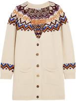 Loewe Intarsia Wool, Alpaca, Silk And Cashmere-blend Cardigan - Off-white
