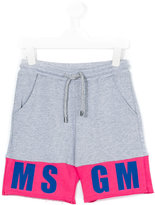 MSGM logo print jogging shorts - kids - Cotton - 4 yrs
