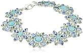 "Nine West Petal Power"" Silver-Tone and Blue Flower Flex Bracelet"