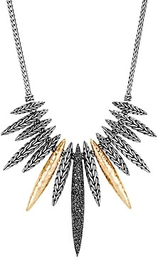 John Hardy Classic Chain Spear Black Sapphire & Black Spinel Bib Necklace in Sterling Silver & 18K Yellow Gold, 18 - 100% Exclusive