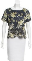 Suno Embroidered Silk Top