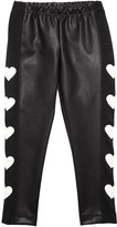 MonnaLisa FAUX LEATHER LEGGINGS W/ HEART PATCHES