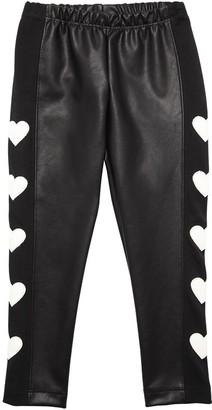 MonnaLisa Faux Leather Leggings W/ Heart Patches