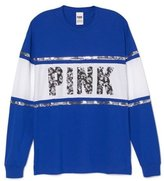 Victoria's Secret PINK Animal Bling Sequins Varcity Crew & White - S