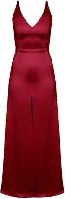 Undress Delina Deep Red Satin Maxi Dress With Front Slit