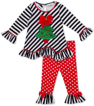 Rare Editions Toddler Girls 2-Pc. Holiday Tree Top & Polka-Dot Leggings Set