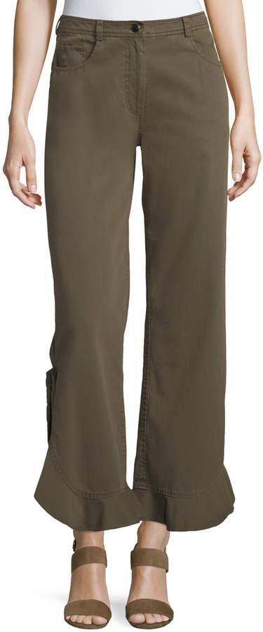 Cinq à Sept Spencer Mid-Rise Flared Flounce-Hem Cotton Pants