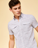 Textured linen short-sleeved shirt