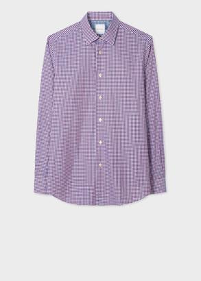 Paul Smith Men's Tailored-Fit Burgundy Gingham Motif Cotton Shirt