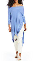 Free People Grapevine Off-the-Shoulder Long Sleeve Asymmetric Hem Tunic