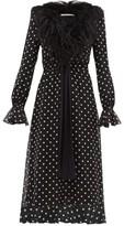 Alessandra Rich Marabou-trimmed Polka-dot Silk Midi Dress - Womens - Black White