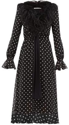 Alessandra Rich Marabou Trimmed Polka Dot Silk Midi Dress - Womens - Black White