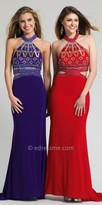 Dave and Johnny Grecian Beaded Prom Dress