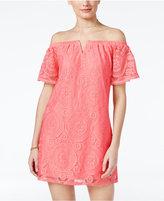 Amy Byer Juniors' Off-The-Shoulder Lace Shift Dress