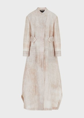 Emporio Armani Overcoat In Woven Linen Jacquard