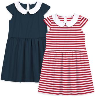 Basics by Sunshine Swing Girls' Casual Dresses - Red Stripe Peter Pan Collar Cap-Sleeve Dress Set - Toddler & Girls