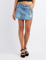 Charlotte Russe Refuge Patches Destroyed Denim Mini Skirt