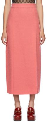 Gucci Pink Wool Tweed Midi Skirt