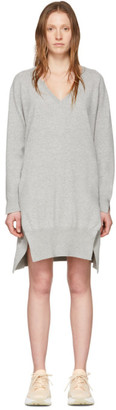 Stella McCartney Grey Cashmere V-Neck Sweater Dress