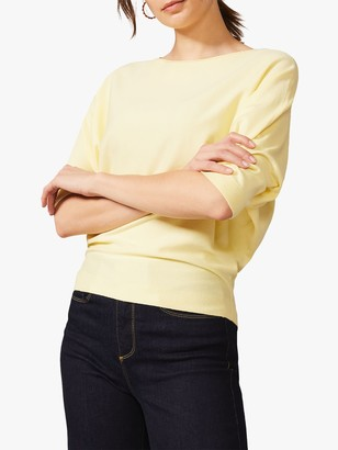 Phase Eight Cristine Batwing Knit Top, Lemon
