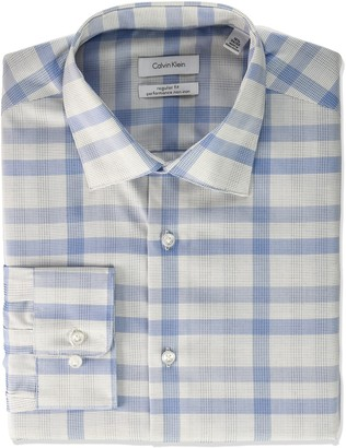Calvin Klein Men's Dress Shirt Regular Fit Non Iron Plaid