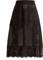 Dolce & Gabbana Lace-appliqué georgette skirt