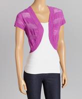 Purple Cactus Sheer-Stripe Sweater Shrug