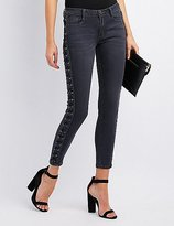 Charlotte Russe Machine Jeans Lace-Up Skinny Jeans