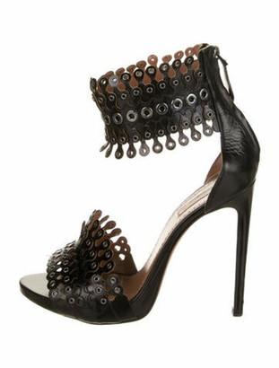 Alaia Leather Sandals Black