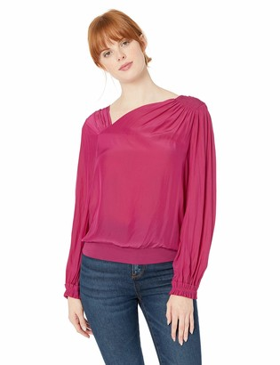 Ramy Brook Women's VIC Asymmetric Neckline Long Sleeve Blouse
