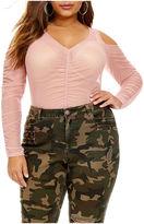 Fashion to Figure Shae Cold Shoulder Mesh Bodysuit - Plus