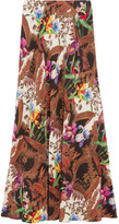 Etro Printed Silk Crepe De Chine Maxi Skirt - Brown