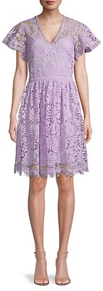 Shoshanna Floral Lace Fit--Flare Dress
