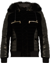 Balmain Fur-trim quilted velvet and leather bomber jacket
