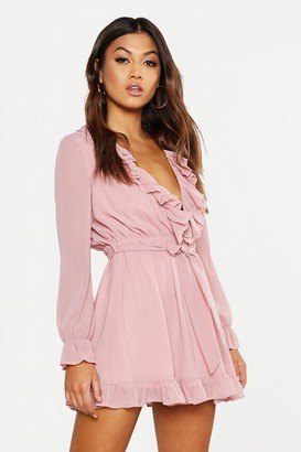 boohoo Ruffle Plunge Front Skater Dress