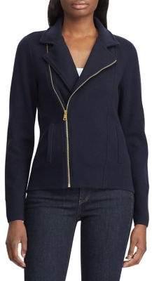 Lauren Ralph Lauren Asymmetrical-Zip Cotton-Blend Moto Jacket