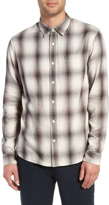 Vince Double Knit Plaid Slim Fit Sport Shirt