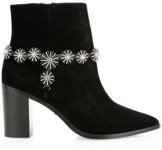 Schutz Teia Embellished Harness Suede Ankle Boots