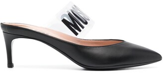 Moschino Logo-Print Low-Heel Mules