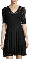 Three Dots Mariko Half-Sleeve Lace Dress, Black