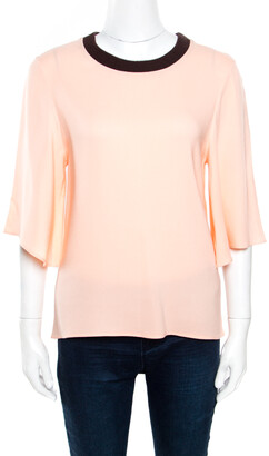 Roksanda Ilincic Peach Crepe Contrast Ribbed Neck Detail Flared Sleeve Top S