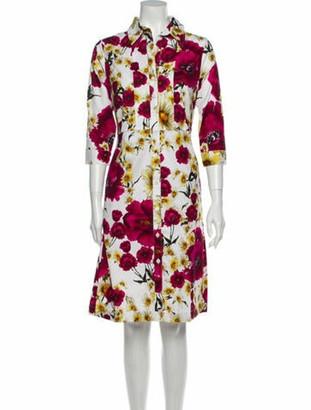 Samantha Sung Floral Print Midi Length Dress w/ Tags White