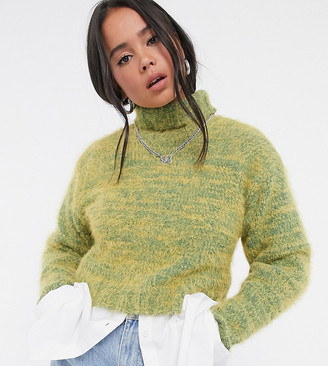 Collusion fluffy roll neck jumper in yellow