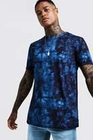 BoohooMAN Longline Navy Tie Dye T-Shirt
