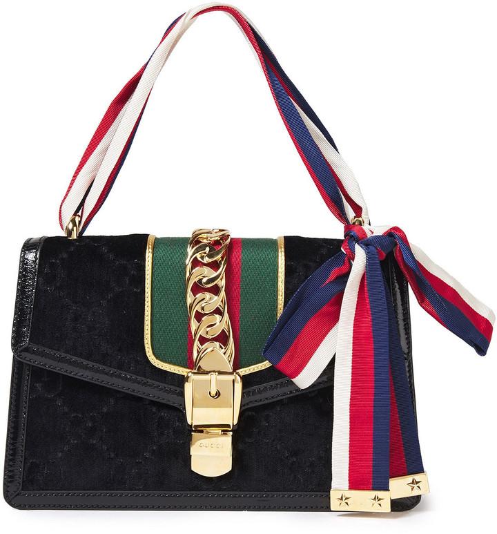 Gucci Sylvie Chain-embellished Velvet Shoulder Bag