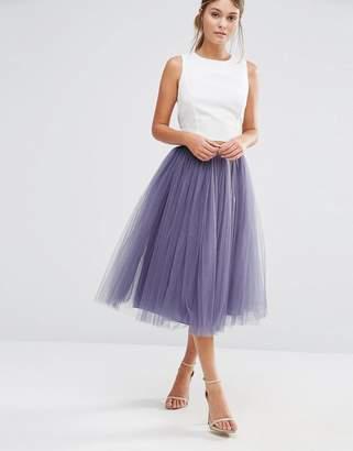 Little Mistress Tulle Midi Prom Skirt-Grey