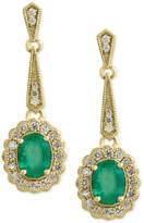 Effy Brasilica by Emerald (2-1/4 ct. t.w.) and Diamond (3/4 ct. t.w.) Flower Drop Earrings in 14k Gold