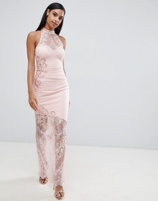 Lipsy high neck lace maxi dress-Cream