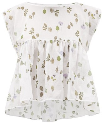 About - Muza Floral-print Cotton-batiste Pyjama Top - Womens - White Print