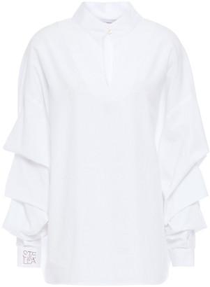 Stella Jean Ruched Cotton-poplin Blouse
